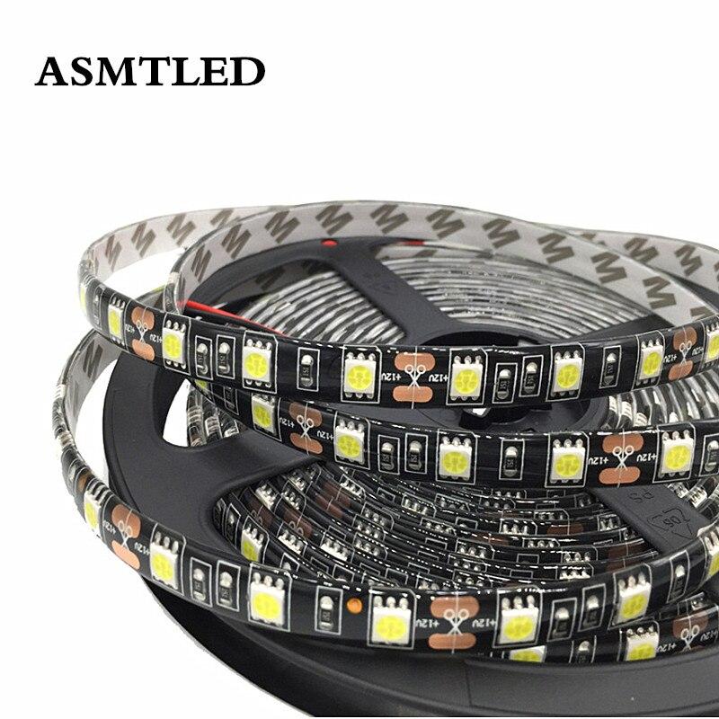0.5m 1m 2m 3m 4m 5m DC12V Double Black PCB SMD 5050 LED Fexible Strip Light 60LEDs/m Holiday RGB LED Tape Ribbon Light Car Lamp
