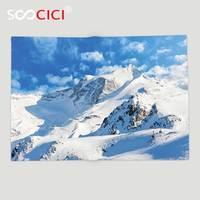 Custom Soft Fleece Throw Blanket Lake House Decor Mountain Landscape Ski Slope Winter Sport Telfer And