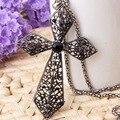 Полые черный бижу ретро стиль крест ожерелье лучшие друзья кулон старинные ювелирные изделия длинные ожерелья женщины кеттинг collana ожерелье