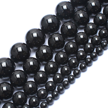 Natrual Round Stone Beads Genuine Black Tourmaline Stone Beads For Jewelry Making Bracelet Necklace 15inches 6/8/10/12mm