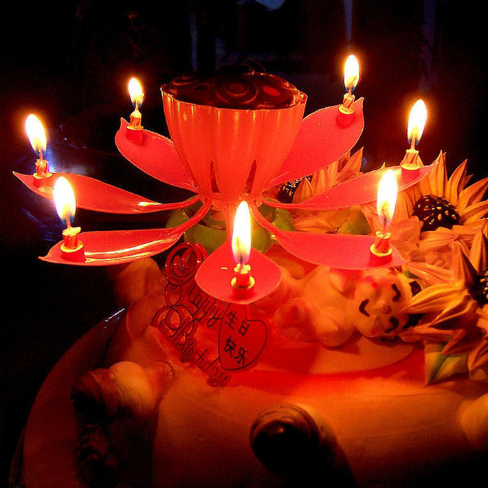 Amazing Romantic Musical Lotus Rotating Happy Birthday Candles Spin Flower Party Gift Sparkler Decorative For Cake In Decorating Supplies From