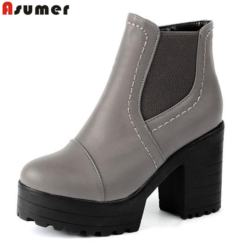 ФОТО 2016  ankle boots new arrival winter women popular shoes embossed leather round toe thick heels zip platform big size black