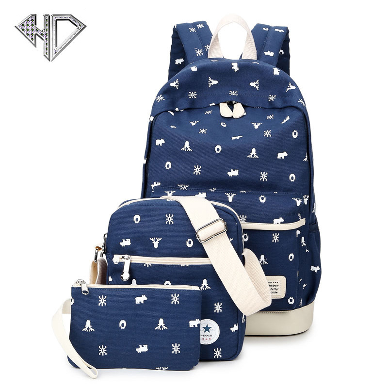 New Canvas Women Backpack big student book bag with purse laptop 3pcs set bag high quality ladies schoolbag for teenagers girls big capacity high quality canvas shark double layers pen pencil holder makeup case bag for school student with combination coded lock