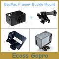 Gopro marco ampliado (cámara + lcd/bacpac batería) + hebilla de liberación rápida de montaje con tornillo para gopro hero 3/3 + gopro accesorios