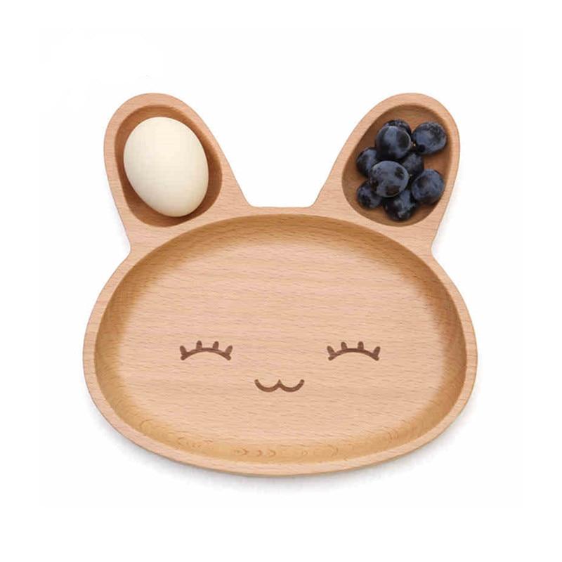 Kaninchen Holz Gerichte Platten Set Kinder Kinder Nette Handgemachte Tray Sushi Snack Obst Geschirr Geschirr Küche Zubehör