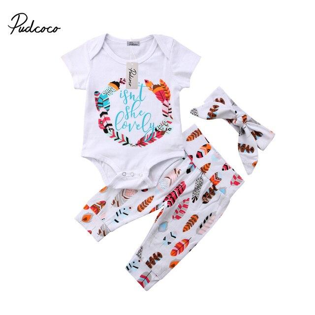 01cdee4f7f94 3Pcs Infant Newborn Toddler Baby Girls Floral Romper Playsuit+Pants Jumpsuit  Bodysuit+ Headband Clothes Outfit 0-24M