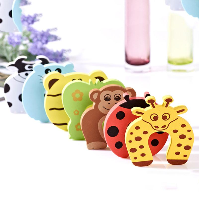 5pcs Door Stopper Baby Safety Animal Card Protection Tools Baby Safety Gate Products Newborn Care