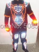 Halloween LED Glowing Clothes Cool LED Stage Wear Novel Party Dress Fashion Clubwear EL Wire Light and Flash