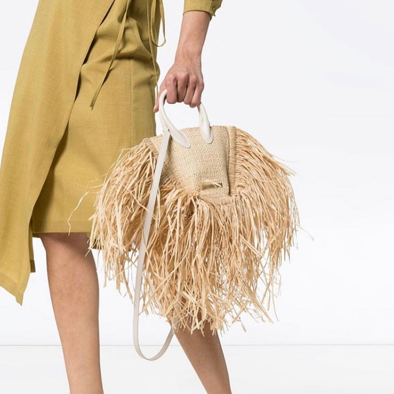 fashion tassel straw bags rattan weave women handbags designer luxury handmade paper shoulder crossbody bags summer beach purses-in Shoulder Bags from Luggage & Bags