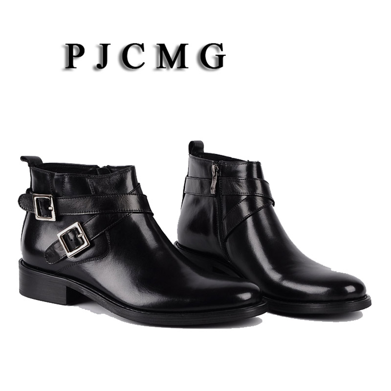 PJCMG New Pointed Toe Buckle Strap Ankle Boots Men Hombre Genuine Leather Men Motorcycle Boots For Men Work High Top Men Shoes - 3