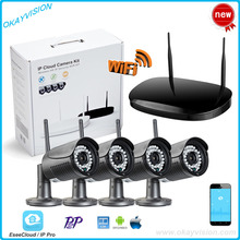 4CH P2P 1.0MP Wireless CCTV Kit 720P ONVIF VGA HDMI OUTPUT NVR WIFI IP Camera Outdoor IP66 Waterproof Network NVR CCTV System