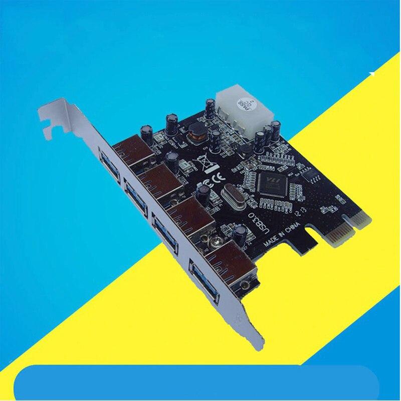 Nouvelle Arrivée 4-Port USB 3.0 PCI-E Express Card Carte D'extension Adaptateur VIA Chipset Haute Vitesse 5 Gbps