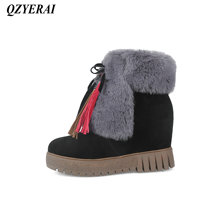 QZYERAI Winter super warm ladies inside height snow boots fashion womens shoes womens boots