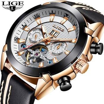 LIGE Men Watch Original Luxury Brand Tourbillon Automatic Mechanical Watches Fashion Leather Business Watch Relogio Masculino