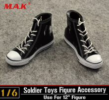 купить 1:6 ZY TOYS Model One Pair Black Action Figure Shoes Male Canvas Shoes Sneakers with Shoe Laces Fit  12