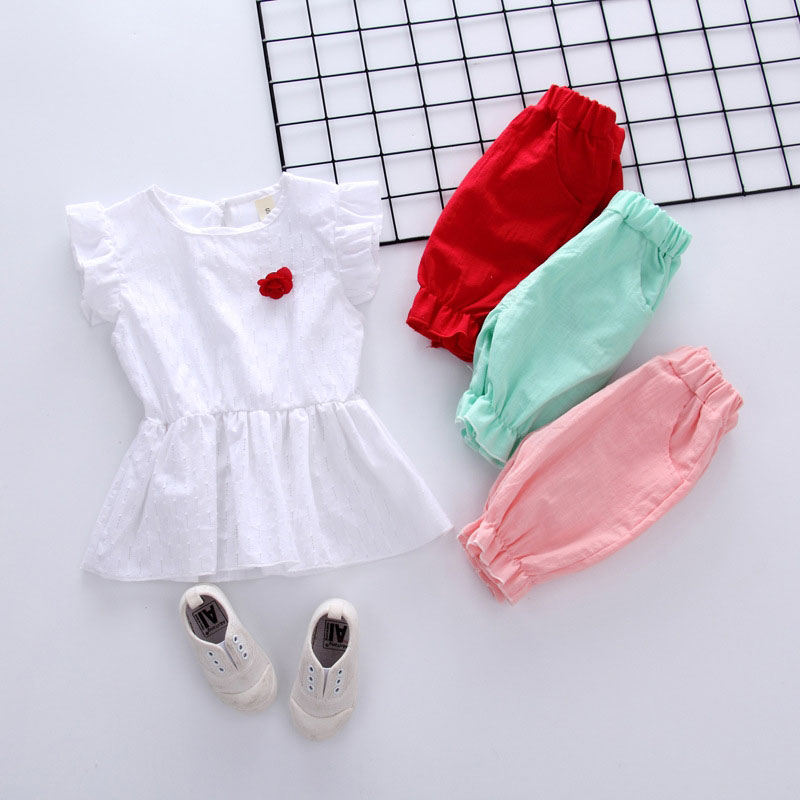 Summer baby Girl Toddler Casual T-shirt +Pant 2pcs Cute Flower Clothing Sport Set Fashion Newborn Solid Short Sleeve Clothes