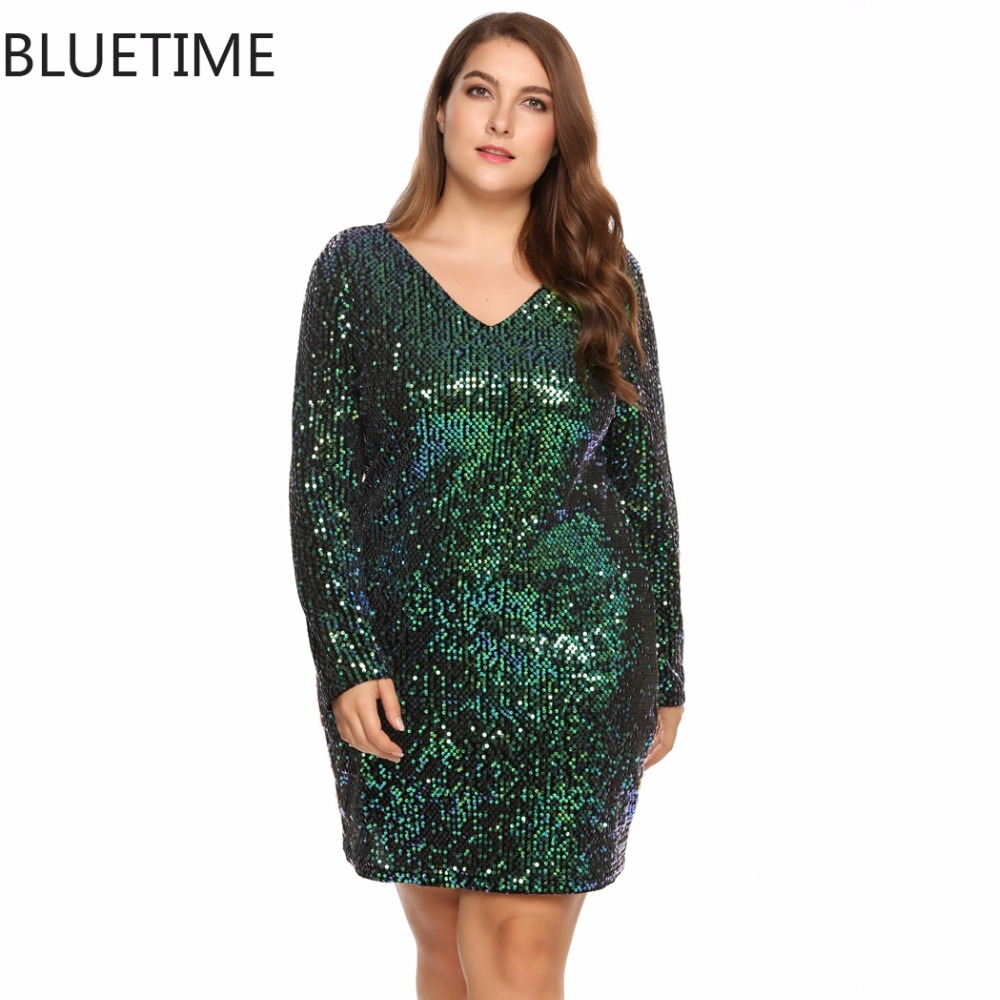 c0be434a8c3 BLUETIME Big Plus Size Female Retro Sequin Autumn Dress Women Long Sleeve  Sexy Bodycon Party Club Ladies Dresses 16~24W A7 -in Dresses from Women s  Clothing ...