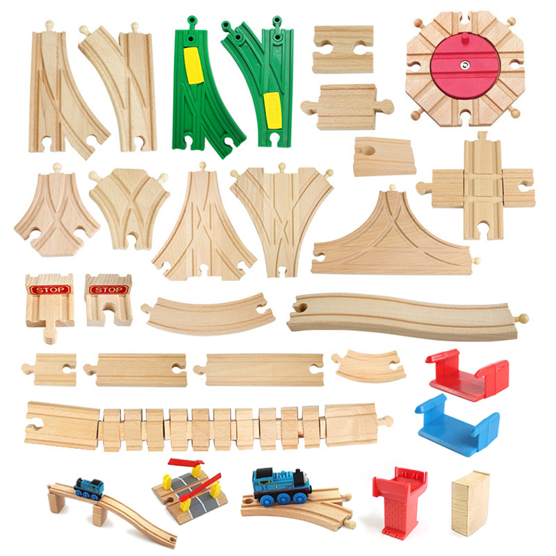 Various Wooden Train Track Components Beech Train Track Set Children Train Toys Gifts Accessories Compatible With Thoma Friends