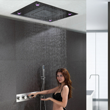 Colorful Bathroom Shower Set  Faucet Brushed Hot and Cold Mixer LED Embedde Ceiling Shower Head Rainfall Waterfall Showers Big
