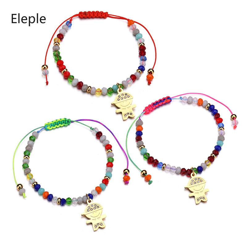 Eleple Korean Hand Woven Bracelets for Women Cartoon Boy Zircon Pendant Color Rope Beads Adjustable Bracelet Jewelry S-B128