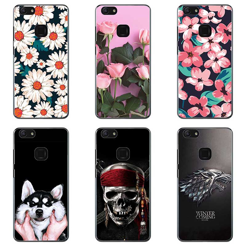 For <font><b>vivo</b></font> <font><b>V7plus</b></font> Soft silicone Phone <font><b>Cases</b></font> For <font><b>vivo</b></font> <font><b>V7plus</b></font> y79 Soft TPU Material Back Cover Coque Print painting Flower style image