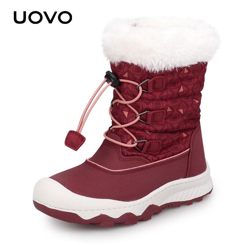 Enfants bottes de neige 2019 UOVO nouveauté bottes d'hiver enfants bottes chaudes hydrofuge garçons et filles avec doublure en peluche #29-38