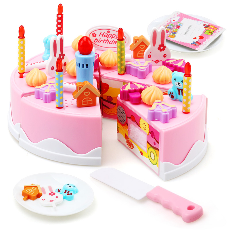 DIY Pretend Role Play Kitchen Toy Fruit Cutting Birthday Cake Cream Tea Kitchen Food Toys Pink Children Cookware Sets Gift