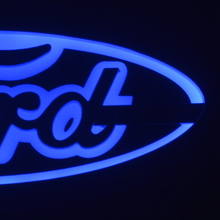 Car led light rim glow Emblem Red/blue/white car logo for Ford Focus Mondeo Kuga 14.5 × 5.6 cm Decorative front rear badge red blue white auto led car decal logo light emblem sticker lamp for chevrolet cruze ca018 44 49