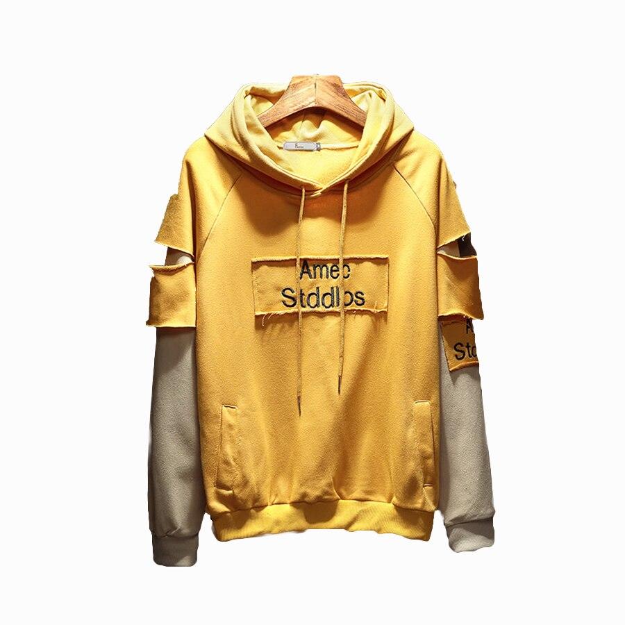 € 22.93 50% de DESCUENTO|Sudaderas con capucha estilo coreano con capucha de gran tamaño para hombre Harajuku ropa de calle suéter de retazos sudadera