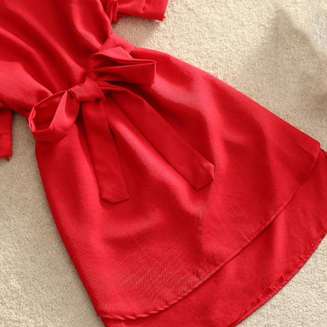 Chemises femmes 2019 été tenue décontractée mode bureau dame solide rouge mousseline de soie robes pour femmes ceintures tunique dames Vestidos Femme