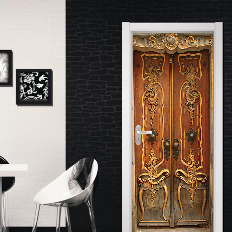 77x200cm 3D Serious And Dignified Retro Wooden Door Stickers Home Decor Decals Accessories Vintage Wall Paper Decoration Maison