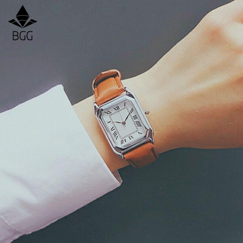 Hot Sale Fashion Women Retangular Watch Roman Number Scale Silver Case Casual Quartz Wristwatch Leather Hand good gift for girl