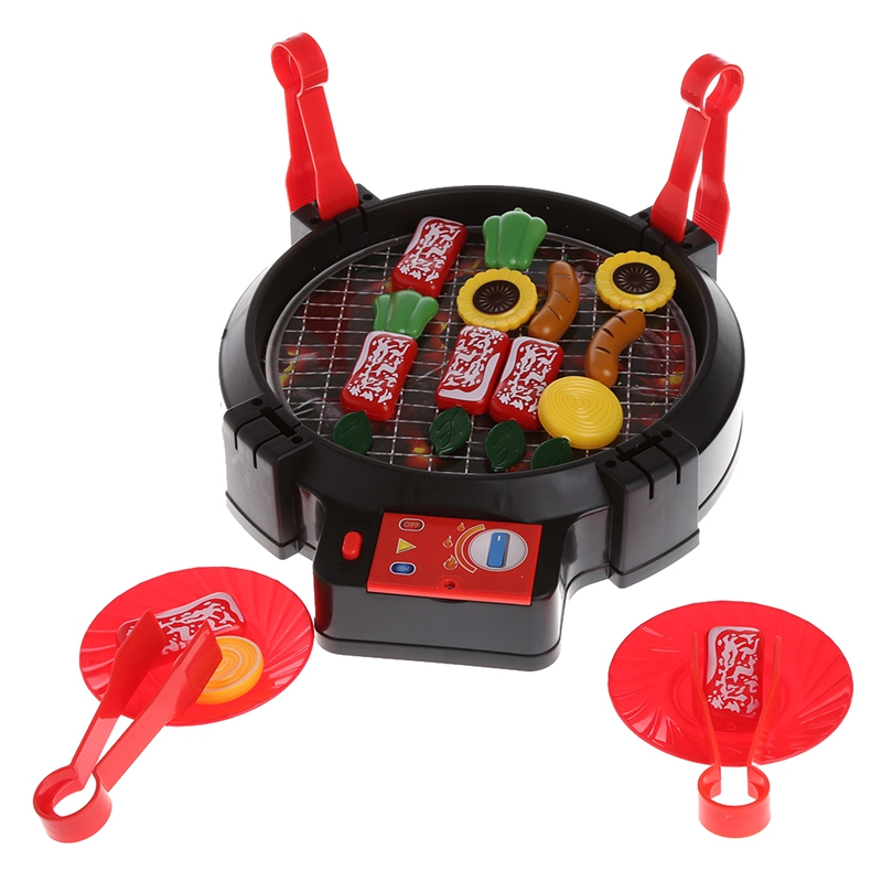 Kid Pretend Play Barbecue Playset Simulation Kitchen Electric BBQ Toy with Light 328 Promotion %312