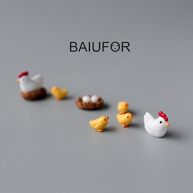 Baiufor Hen Chick Family Miniature Terrarium Figurines Diy Micro
