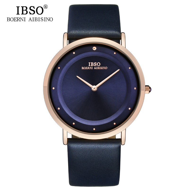 IBSO 7MM Ultra-thin Quartz Wristwatches Genuine Leather Strap Mens Watches Top Brand Luxury Fashion Watch Men Relogio Masculino