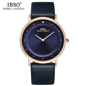 Image 2 - IBSO 7MM montres à Quartz Ultra mince bracelet en cuir véritable montres pour hommes montre de luxe pour hommes Relogio Masculino