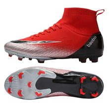цены 2019 FG Soccer Shoes Men High Ankle Outdoor Cheap Football shoes Cleats Superfly Sport Shoes  Kids Training Match Soccer Boots