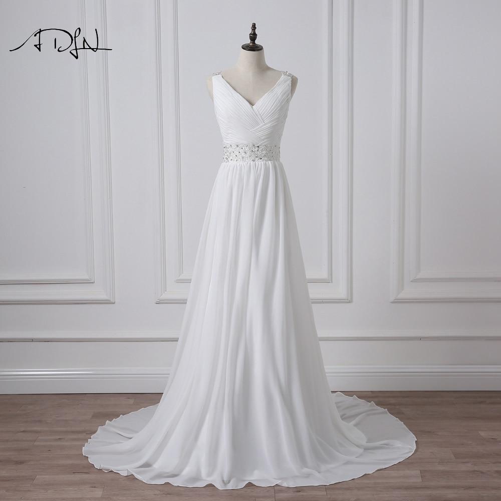 V-Neck Sleeveless Long Pleat Crystals Beaded Chiffon A-Line Wedding Dress 1