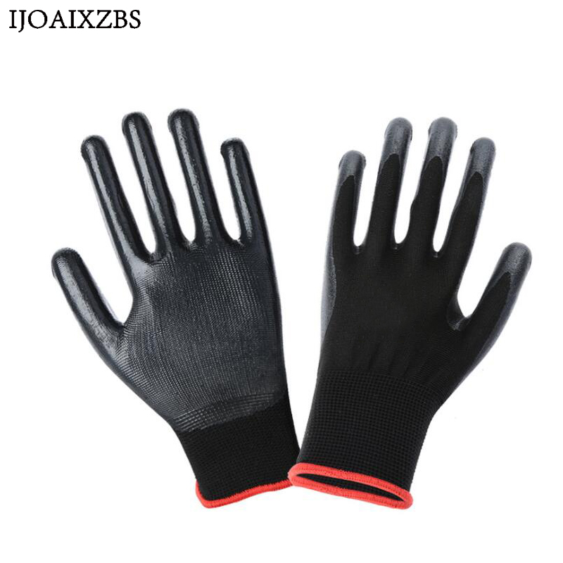 12 Pairs Work Gloves Safety Nylon Knitted Gloves With PU Coated For Builder Driver Gardening Mechanic Protective Gloves ...