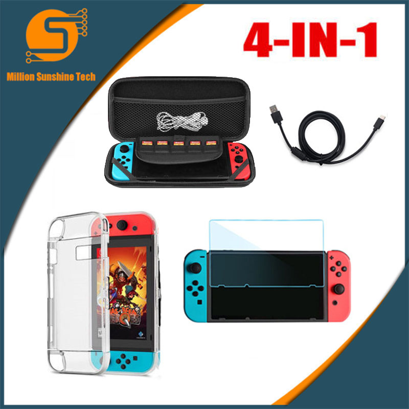 For Nintend Switch 4 In 1 Accessories Case Bag+ Charging Cable+Protector+Shell Cover + Tempered Glass Screen Film R25