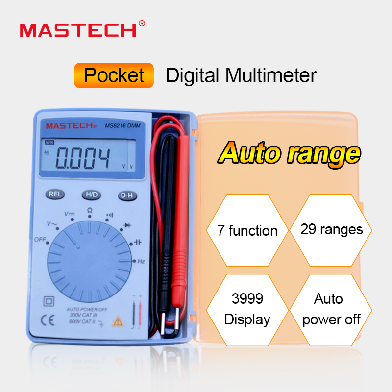 MASTECH MS8216 mini Digital Multimeter AC/DC Voltage 4000 Counts Autoranging DMM Tester Detector with Diode data hold