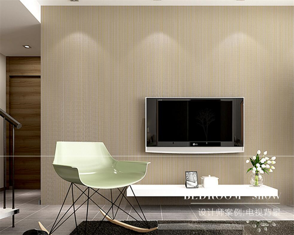 ФОТО  Beibehang modern pure color stripe wallpaper plain coloured 3 d sitting room bedroom hotel teahouse background wall wallpaper