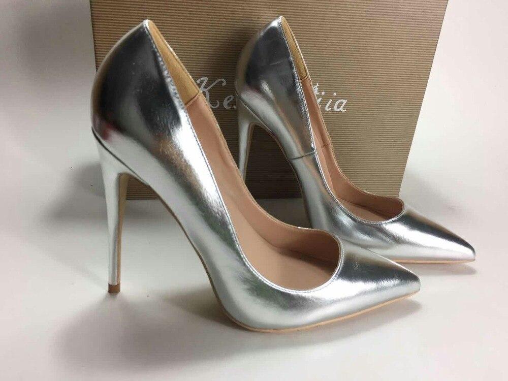 Bal Keshangjia Argent Haut Chaussures Femmes Bout Femme Toe Classique Pointu De Talon Stiletto Closed Pompes 5R4jLAq3
