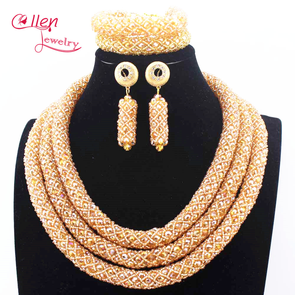 цена Champagne Nigerian Wedding African Beads Jewelry Set Handmade Dubai Bridal costume jewelry Necklace Bracelet Earrings N0002 онлайн в 2017 году