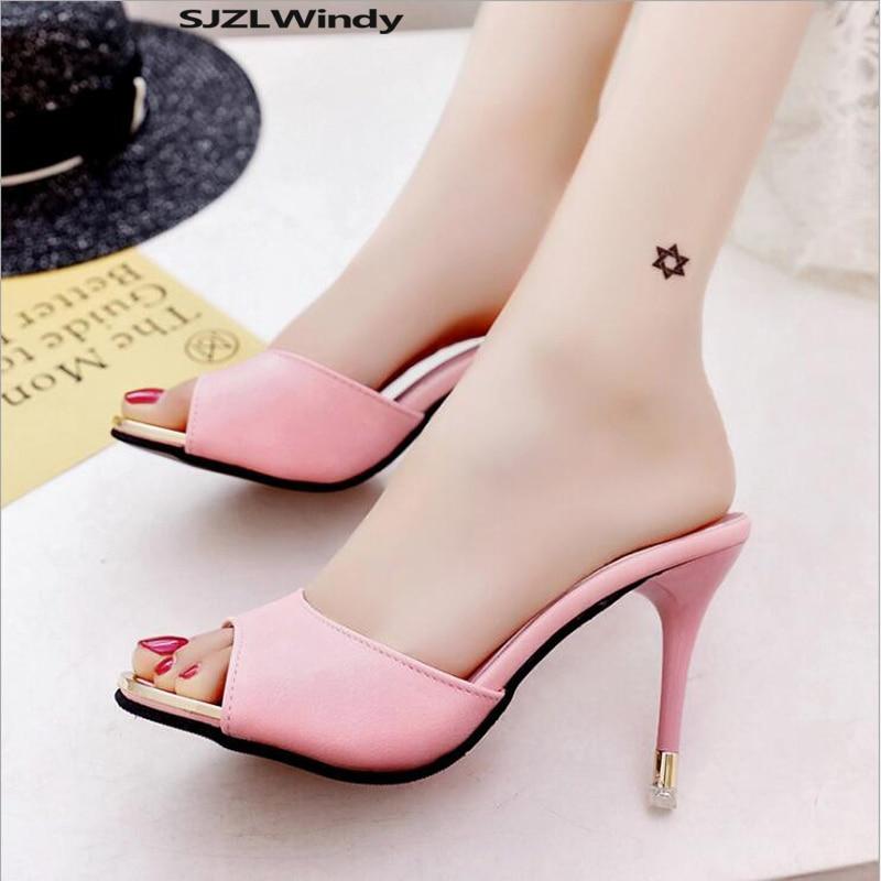 2019 New Pattern High Heels Women's High Heels 8cm Women's Shoes Sexy Pointy Wedding Shoes Summer High Heels Stiletto Heels