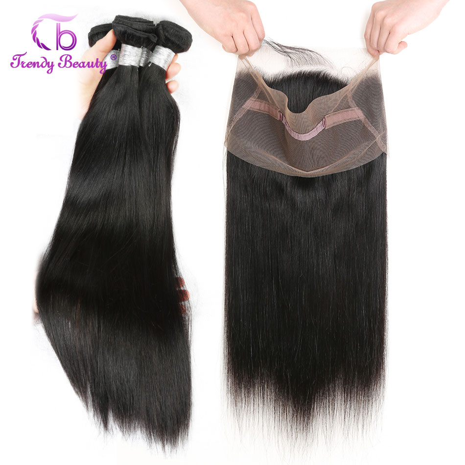 Brazilian Straight Hair 3 Bundles with 1 pcs Lace Frontal 22x4 inches 360 Frontal Natural Black