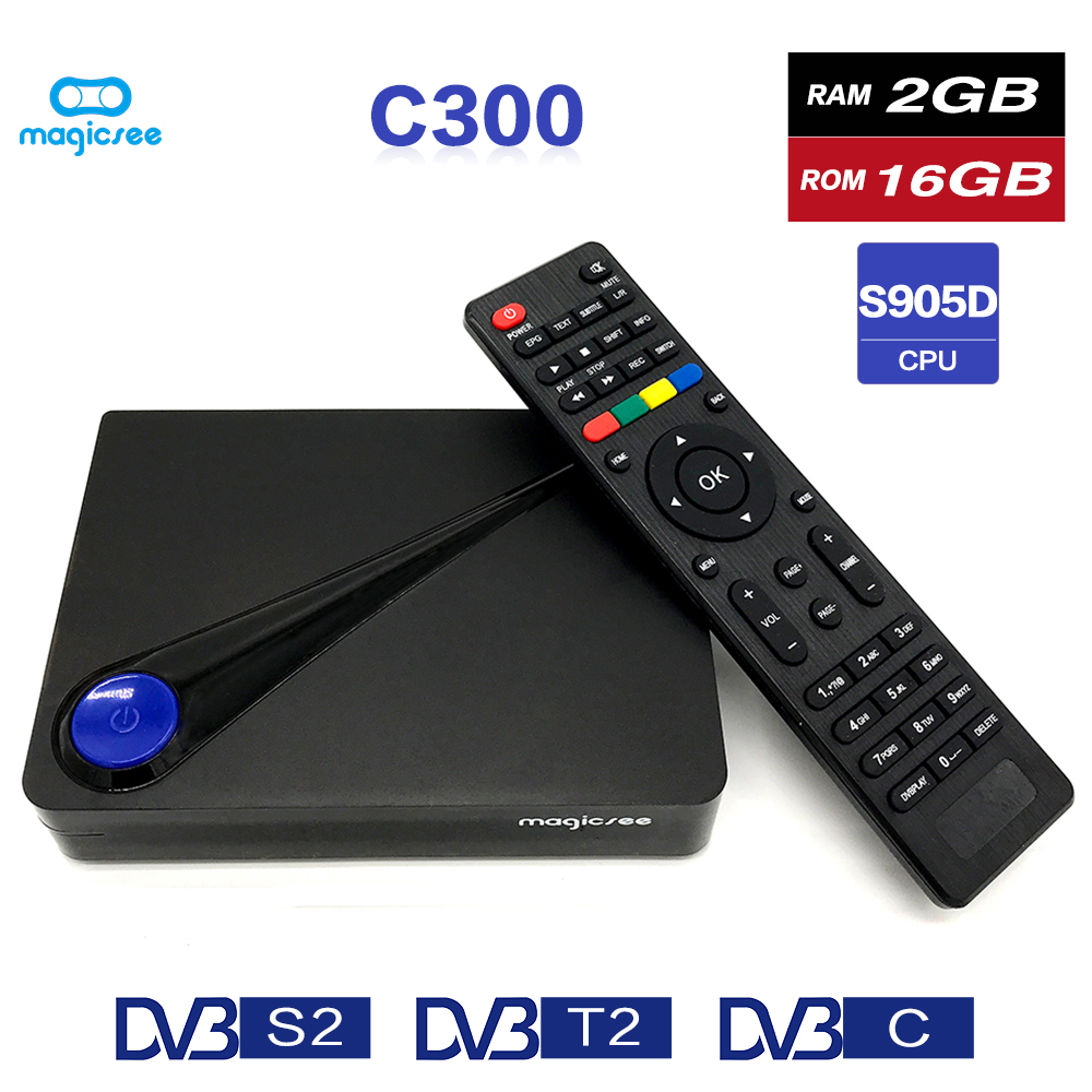 Magicsee C300 Amlogic S905D Quad-core 2 GB 16 GB tvbox DVB-T2 DVB-S2 Câble Set Top Box Android 7.1 4 K Smart TV Box avec Clavier