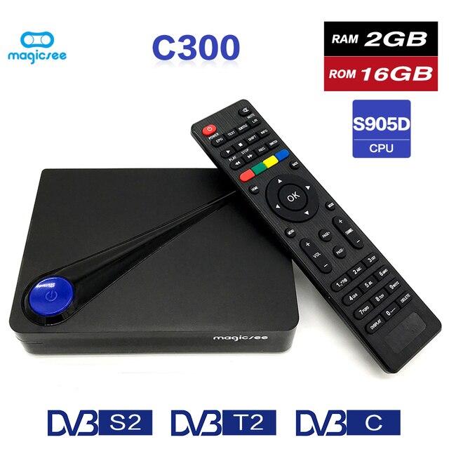 Magicsee C300 Amlogic S905D Quad-core 2 GB 16 GB tvbox DVB-T2 DVB-S2 Cable Set Top Box Android 7,1 4 K Smart TV Box con teclado