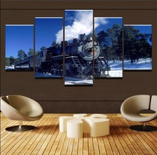 Modern Canvas Painting On The Wall Art Picture 5 Panel The Classic Old Train Canvas Posters And Print Picture On The Wall Framed facing the modern