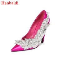 Hanbaidi Мода атласная Женская обувь на высоком каблуке Острый носок с цветами и стразами Женская обувь для вечеринок блестящие feminino свадебные